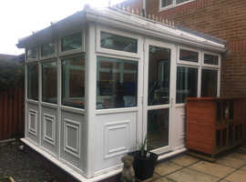 UPVC Conservatory with Full Glass Roof.  2.7 metres wide x 3.8 metres long (approx)