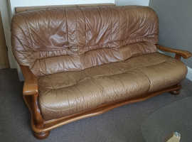 Leather 3 seater sofa and armchair free