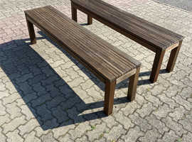 Two solid wood benches