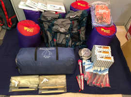 Assortment of useful camping and hiking equipment in new or very good condition.