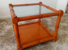 Solid wood glass topped bamboo style coffee table