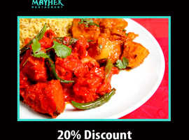 20% Discount For Collection On Orders Over £20 | Mayhek Restaurant