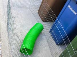 Rabbit playpen and plastic tunnel