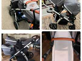 Sliver cross wave tandem double pushchair