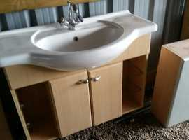 BATHROOM VANITY SINK UNIT &TAPS WITH BASE CUPBOARDS TOP! LUXURY/QUALITY! IMMACULATE CONDITION SUTTON