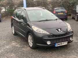 Peugeot 207, 2009 (09) Black Estate, Automatic Petrol, 65,000 miles