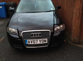 Audi A3, 2007 (07) Black Hatchback, Manual Petrol, 101,000 miles