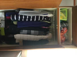 Two teak wardrobes and two chests of drawers.Shoe caddy also