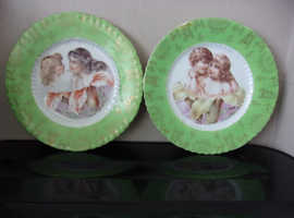 Very Old idyllic hand painted plates depicting two Children / Ladies