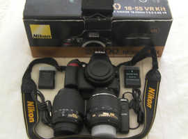 NIKON D3100 BOXED KIT WITH EXTRA LENS Nikon D D3100 14.2MP Digital SLR Camera - Black (Kit w/ VR 18-55mm Lens). Condition is Used. Collection in perso