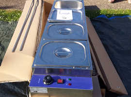 BAIN MARIE  5 pan (wet well )  stainless SNEEZE  GUARD FITTED