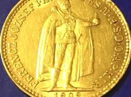 22ct Gold King Frances Joseph Solid Gold 10 Korona Antique Gold Coin 1909.