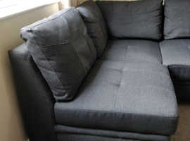Fabric Left Hand Corner 3 Seater Sofa Bed - Charcoal