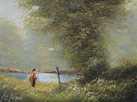 Les Parson Original Oil Painting - Young Boy River Fishing (Cornish Art)