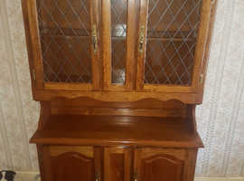 solid wood with leaded glass doors dresser