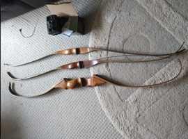 (SOLD) 3x Vintage Wooden bows + Unused surveillance camera