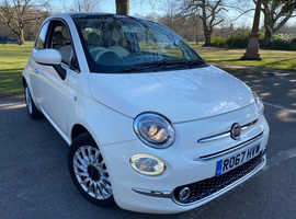 Fiat 500, 1.2 Lounge 2017 (67) White Hatchback, Manual Petrol,  25600 miles
