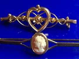 Ladies Jewellery 9ct Gold Antique Victorian Heart Brooch & 9ct Gold Cameo Shell Brooch Fully Hallmarked 375.