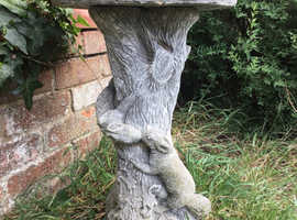 Large solid stone concrete bird bath