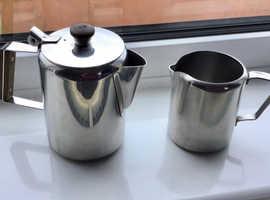 Vintage Tudor Knight tea or coffee pot and milk jug. Stainless steel