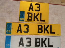 Private number plate. A3 BKL. £500.00 (Private seller) Plates and transfer fee included. Near Offer considered