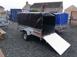 BRAND NEW SINGLE AXLE TRAILER WITH FRAME AND COVER AND RAMP TIPPING 8.7x4.2