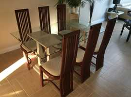 Dining Table (Glass/Marble) and 6 Chairs