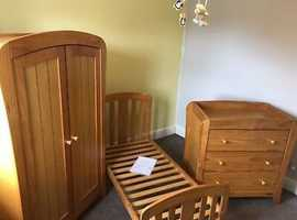 Excellent condition full  nursery set including cot that transfers in to toddler bed