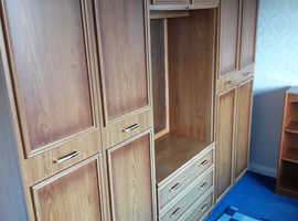 Double wardrobe with drawers and mirror