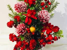 Artificial Christmas Floral Grave Pots