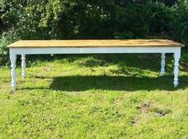 New 9 Ft Pine Rustic Farmhouse Dining Table. Seats 10 to 12. Farrow & Ball Manor House Grey Legs