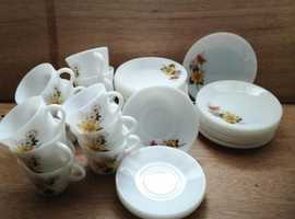 Glass cups, saucers and tea plates (Pyrex)