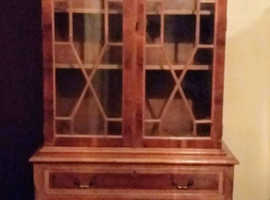 Yew Display Cabinet/Bookcase with Wood Decor Glass doors