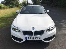 BMW 2 SERIES, 2018 (18) White Convertible, Manual Petrol, 23,000 miles