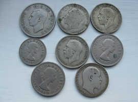 7 BRITISH PREDECIMAL COINS 5x 2 SHILLING FLORIN 1 HALF CROWN 1 SHILLING 1923-57