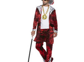 Mens Gangster Pimp Red Big Daddy Costume 70s Dico Fancy Dress Outifit