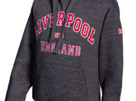 SWEATSHIRT(Hoodie)  LIVERPOOL ENGLAND NAVY MELANGE PINK PULLOVER YOUTH