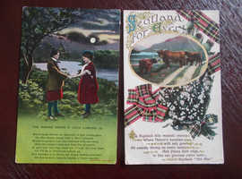 SCOTLAND FOREVER & THE BONNIE BANKS O LOCH LOMOND PICTURE/POEM POSTCARDS 1913