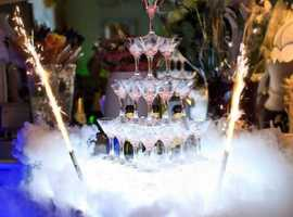 Champagne glasses tower show with special effects