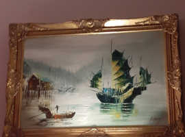 Original Oriental oil on canvas,  superb detailed guilt surround frame. Unsure of age but I've had it and loved it for over forty years