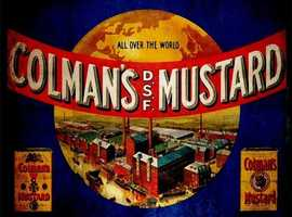 ALL OVER THE WORLD COLMANS MUSTARD - METAL ADVERTISING WALL SIGN - RETRO ART