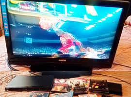 Sanyo TV, you view box, Toshiba dvd player, + 7 dvds