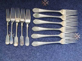 6 ANTIQUE J G GRAVES HALL MARKED SILVER PLATED FORKS + 5 OTHERS