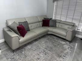 Grey Leather Sofa & Armchair