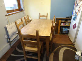 oak table and 6 chairs from leeks offers please