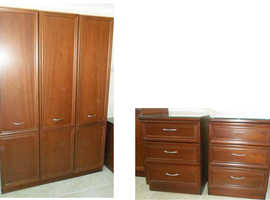 G-PLAN Wardrobe & 2 Bedside Drawer Cabinets With Glass Tops