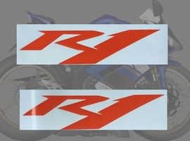 2 x Yamaha R1 Stickers/decals in Orange Vinyl Super Bike Motorcycle Sticker