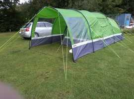 Hi Gear Enigma 5 tent with canopy, carpet and footprint groundsheet. Used twice. EXCELLENT!