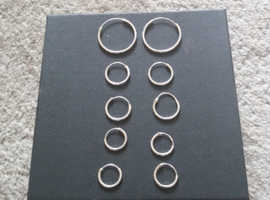 Small pairs of silver hooped earrings