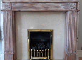 Quality  grey toned pine fire surround with genuine Italian marble hearth and inset plus fire